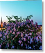 Lilacs And Sunset To Blue Hour Transition Over Gamla Stan In Stockholm Metal Print