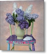 Lilacs With Chair And Shell Metal Print