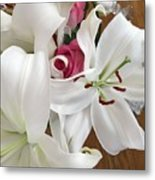 Lilies And Roses Metal Print