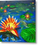 Lilies By The Pond Metal Print