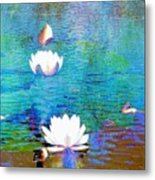 Lilies In Abstract Metal Print