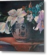 Lilies In Delft Metal Print