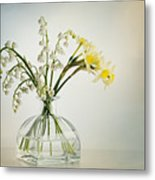 Lilies Of The Valley In A Glass Vase Metal Print