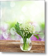 Lilly Of Valley Posy In Glass Metal Print