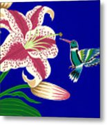 Lily And Hummingbird Metal Print