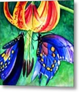 Lily And The Butterflies Metal Print
