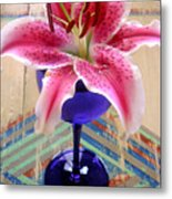 Lily On A Painted Table Metal Print