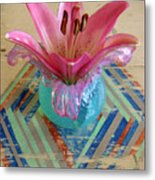 Lily On A Painted Table Too Metal Print
