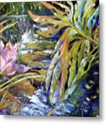 Lily Pond Light Dance Metal Print