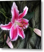Lily Stem On Green Brocade Metal Print