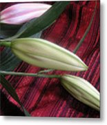 Lily Stem On Red Brocade Metal Print