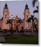 Lima Cathedral At Night Metal Print