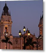 Lima Cathedral Twin Towers One Metal Print