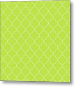 Lime Punch Quatrefoil Metal Print