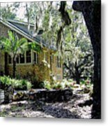 Limestone Home In The Trees Metal Print
