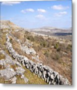 Limestone Pavements And Dry-stone Walls, Fahee North, Burren, County Clare, Ireland Metal Print