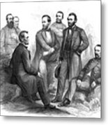 Lincoln And His Generals Black And White Metal Print by War Is Hell Store