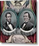 Lincoln And Johnson Election Banner 1864 Metal Print