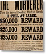 Lincoln Assassination Reward Poster Metal Print