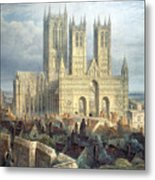 Lincoln Cathedral From The North West Metal Print by Frederick Mackenzie
