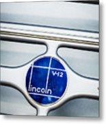 Lincoln V12 Emblem Metal Print