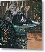Linda's Patio Cats Metal Print