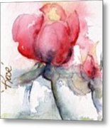 Linda's Rose Watercolor Metal Print