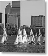 Line Of Boats On The Charles River Boston Ma Black And White Metal Print