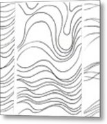 Lines 1-2-3 Black On White Metal Print