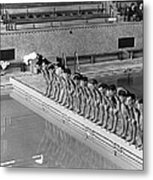 Lineup Of Ncaa Men Swimmers Metal Print