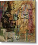 Lion And Lamb Collage Metal Print