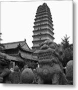 Lion And Pagoda Metal Print