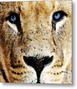 Lion Art - Blue Eyed King Metal Print