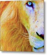 Lion Blue By Nicholas Nixo Efthimiou Metal Print