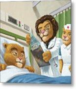 Lion Cub In Hospital Metal Print