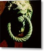 Lion Door Knocker In Venice Metal Print