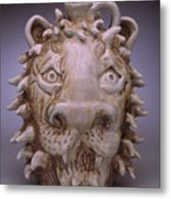 Lion Face Jug Metal Print