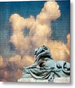 Lion In The Clouds Metal Print