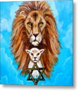 Lion Lies Down With A Lamb Metal Print