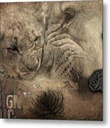 Lion Love Big And Small Metal Print