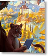 Lion Reading Metal Print