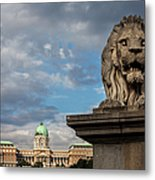 Lion Sculpture In Budapest Metal Print