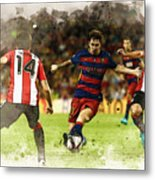 Lionel Messi Challenges The Athletic Bilbao Defense Metal Print