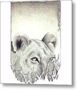 Lioness Rising Metal Print