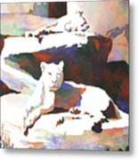 Lionesses At Zoo Metal Print