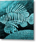 Lionfish On Blue Metal Print