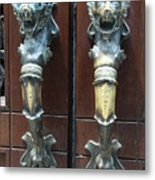 Lions Doorhandle Metal Print