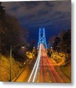 Lions Gate Bridge Light Trails Metal Print