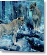 Lions Of The Mist Metal Print