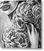 Lips Of Love Black And White Metal Print